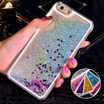 NEW Luxury Glitter Liquid Sand Quicksand Star Case for iphone 4 4S 5 5S SE 6 6S 7 8 Plus X 10 Transparent Clear Hard Cover