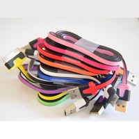 10pcs/lot 10 Colors Cool Black Trim 1M 3 FT Flat USB 2.0 Data Sync Charging Cable Cord for iPhone 3G/3GS 4 4S, iPad 1/2/3, iPod