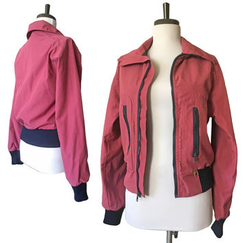 Vintage Retro 1970s Sporty Ski Bomber Jacket with Rib-Knit Trim — Small