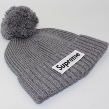 Supreme men and women wool knitted hat wool blended wool hat Gray