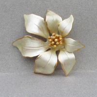 Christmas Gold Tone Enamel POINSETTIA Pin Signed Cerrito