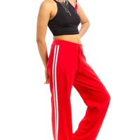 Vintage Y2K Red Side-Stripe Joggers - M/L