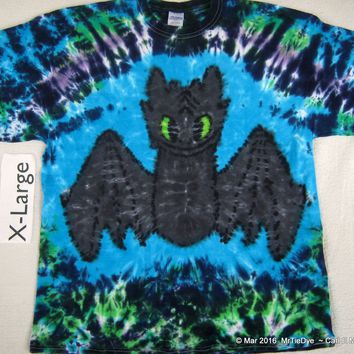 Adult XL Tie-Dye Toothless Dragon Tee                                                          234