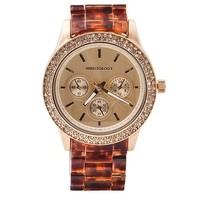 "Wristology ""Alex"" Ladies Tortoise Shell Crystal Chunky Boyfriend Watch in Acrylic Resin Gold Dial Women's"