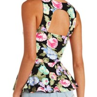BACK CUT-OUT FLORAL PRINT PEPLUM TOP