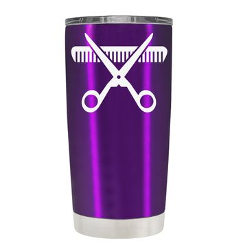 HairStylist Scissor and Comb Silhouette on Violet 20 oz Tumbler Cup