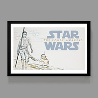 STAR WARS The Force Awakens - Rey & BB-8 Poster Print - Movie, Kids, Room, Decor, Inspiration, Gift