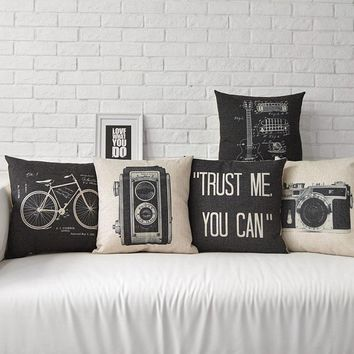 Trust Me You Can Retro Bicycle Recorder Guitar Black And White Massager Decorative Pillows Euro  Emoji Gift Home Enhance