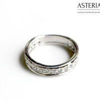 Band ring - CZ ring - Small ring - Elegant jewelry - Fashion jewelry - Modern jewelry - Simple jewelry