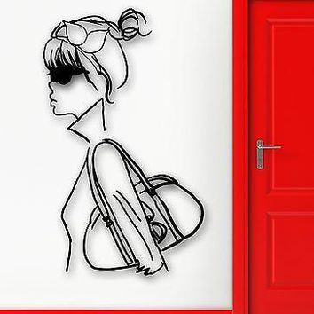 Wall Sticker Vinyl Decal Sexy Girl Fashion Style Purse Unique Gift (ig1818)