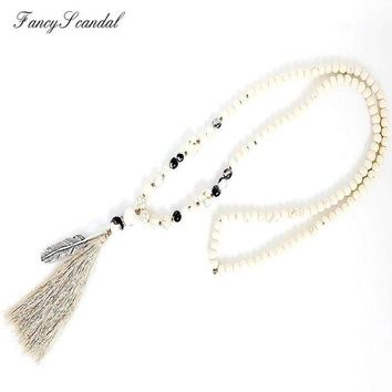 LMFGC3 White stone turquois beads handmade tassel pendant long necklace boho style knotted necklace women jewelry