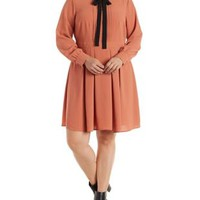Plus Size Contrast-Bow Button-Up Skater Dress