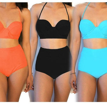 Womens Vintage High Waisted bandeau Bikini Neon Color Swimwear Swimsuits S - XXL = 1945929028