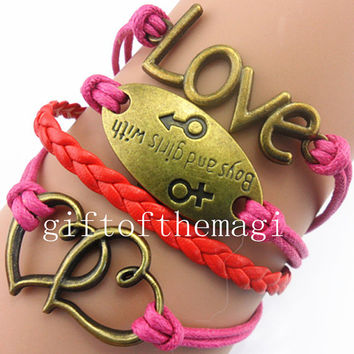 double heart,love &boys and girls with bracelet antique bronze--wax cords leather bracelet ,friendship gift, metal bracelet  763