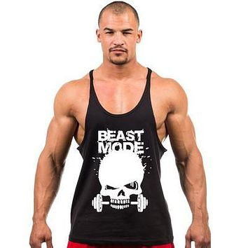 New Skeleton head print Singlets Mens Tank Tops Shirt,Gyms Bodybuilding Equipment Fitness Stringer Tank Top Clothes