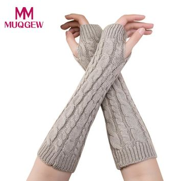 New women gloves Stylish hand warmer winter gloves women Arm Crochet Knitting faux Wool Mitten warm Fingerless Gloves #11130