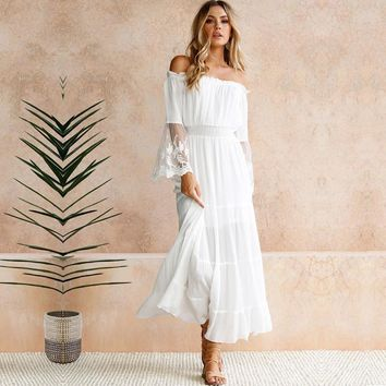Womens Sexy Off Shoulder Lace Long Maxi Dresses - White & Black