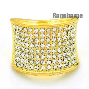 Mens Hip Hop Rapper Chunky Iced Out Pave 14k Gold Plated Ring Size 7   12 N010g
