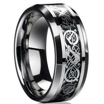 Freeshipping new punk ring for lover Vintage engagement Dragon steel Ring for Men & women lord Wedding rings