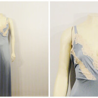 Vintage Nightgown 60s 70s Liquid Satin Blue & Ivory Full Length Negligee Medium