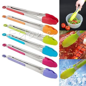 1PC Cooking Salad Serving BBQ Tongs Stainless Steel Handle Utensil New