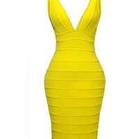 Vee Cut Bandage Dress