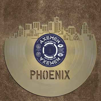 Skyline Wall Decor- Phoenix Skyline, Cityscape, Vinyl Record Art,  Home Decor,  Bachelor gift, Phoenix Wedding, Illustration