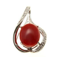GENIUNE NATURAL RED CORAL DIAMOND SLIDER PENDANT SOLID 14K WHITE GOLD 16.30MM