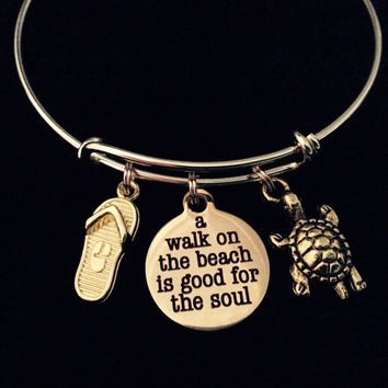 Gold A Walk on the Beach is Good for the Soul Expandable Charm Bracelet Ocean Nautical Gift