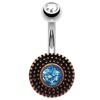 BodyJ4You Belly Button Ring Round Vintage Victorian Aqua Blue Opal Stainless Steel 14G Body Piercing Jewelry