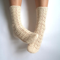 Off white lace socks. Hand-knit wool socks. Wool socks. Lace socks. Knit socks. Highest quality sock yarn. Bed socks. House socks.