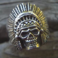 Indian skull ring in sterling silver