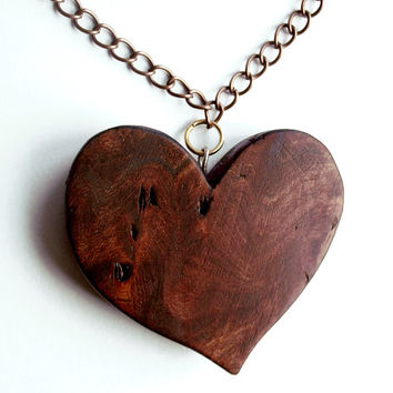 Elm Burr Wood Heart Necklace. Wooden Pendant, Hand Carved. Heart Pendant, Heart Jewelry, carved wood heart,  Heart Necklace, elm burl,