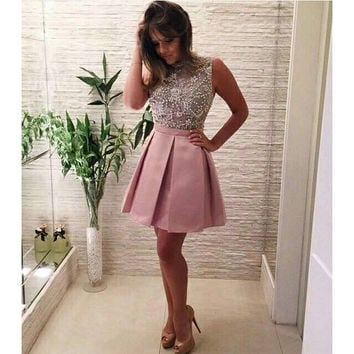 Pink Beads High Neck Mini Homecoming Dress
