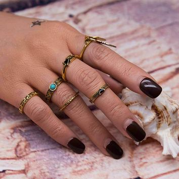 Retro Punk Leaf Ring Set Vintage Antique Gold Color Lucky Arrow midi Rings for Women 6PCS/Set Blue Stone Jewelry