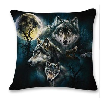 Wolf Family Decorative Cushion Throw Pillow Cover