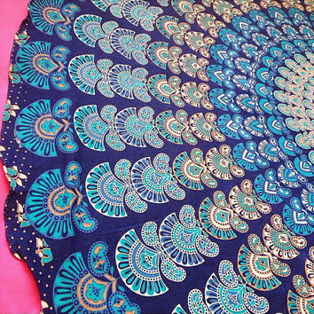Indian Blue Round Circle Roundie Mandala Peacock Tapestry Wall Hanging Throw Beach Picnic Blanket Bed Sheet < Uk SELLER >