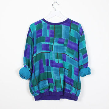 Vintage 80s Silk Blouse Purple Teal Blue green Abstract Print Long Sleeve Shirt 1980s New Wave Slouchy Geometric Watercolor Top M L Large