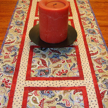 Patriotic Quilted Table Runner Western Americana Red White and Blue Extra Long