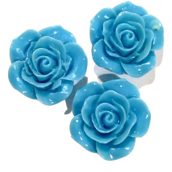 Turquoise blue flower resin cabochon 18mm / 1-5 pieces