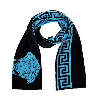 DCCK3SY Versace Medusa Head With Greek Key Wool Scarf Black Turquoise