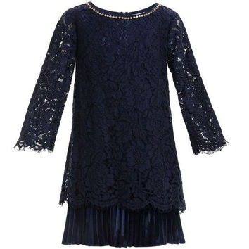 Monnalisa - Girls Fashion Scalloped Lace Dress, Blu Navy