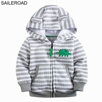 SAILEROAD New 18M-7Years Animals Dinosaur Children Kids Outerwear Coat With Zipper Baby Girls Boys Hoodies Coat Boys Fleece