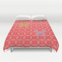 Red pink retro style squared pattern with hearts and butterflies Duvet Cover by ankka