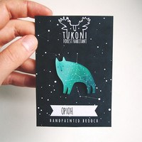 Space wolf brooch,  galaxy wolf, emerald green, Orion constellation, brooch, star brooch, wolf totem, miniature wolf, animal brooch