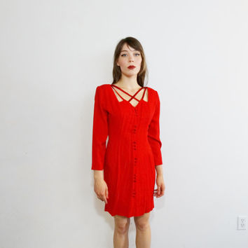 80s cut out dress - red button up dress - 1980s vintage short mini - crisscross collar neckline - women small xs - Frederick's of Hollywood