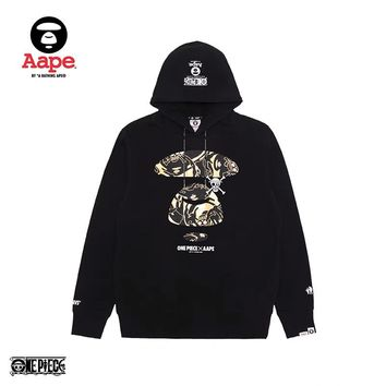Aape x OnePiece co-branded camouflage print wild fashion hooded sweater