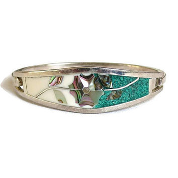 Hecho en Mexico Inlaid Abalone and Turquoise Chips Hinged Bangle Bracelet Vintage Signed
