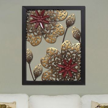 Stratton Home Decor Metal Flower Panel Wall Decor (Brown)