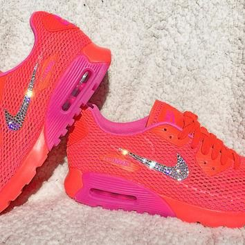 Crystal Nike Air Max 90 Ultra Breath Total Crimson Pink Blast Bling Shoes with Swarovs